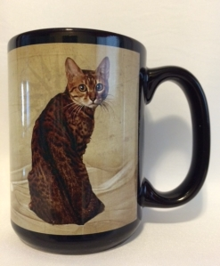 Brown Spotted Begal Cat Mug. $19.99