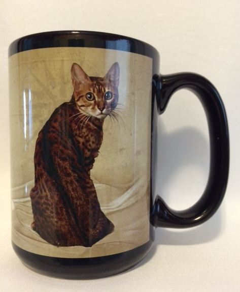 Brown Spotted Begal Cat Mug. $19.95